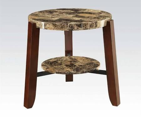 Lilith Collection 80958 23 inch  End Table with Light Brown Faux Marble Top  Round Bottom Shelf  Tapered Legs and Veneer Materials in Cherry