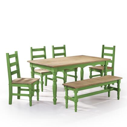 "Jay 1.0 Collection CSJ104 60"" 6-Piece Solid Wood Dining Set with 1 Bench  4 Chairs  and 1 Table in Green"