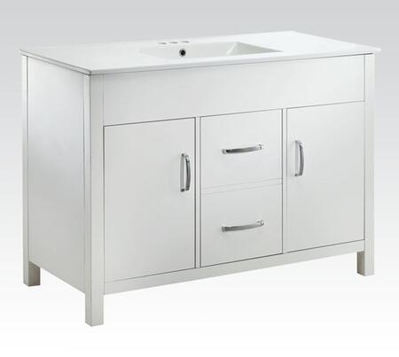 90079 Kerra Sink Cabinet with 2 Doors  2 Drawers  Marble Top  Wood Veneers and Solids Construction in White