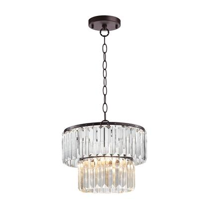 Antoinette Collection D3015 12 inch  Ceiling Pendant with 1 Light Bulb  E26 Bulb Type  UL Listed  Crystal Shade and Metal Construction in Bronze and Clear