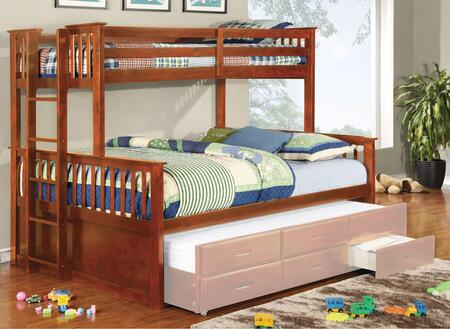 University II CM-BK458F-OAK-BED Twin Over Full Collection Size Bunk Bed with 13 PC Slats Top and Bottom  Side Access Ladder  Solid Wood and Wood Veneers