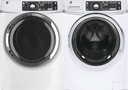 Front Load Steam GFW480SSKWW 28 Washer with GFD48GSSKWW 28 Gas Dryer Laundry Pair in