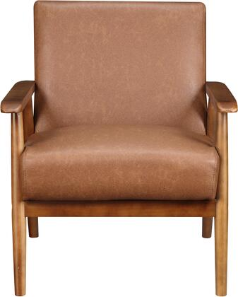 DS-D030003-460 Wood Frame Faux Leather Accent Chair with Hardwood Solids  Plush Foam Padding  Padded Seat and Back Cushion in Lummus
