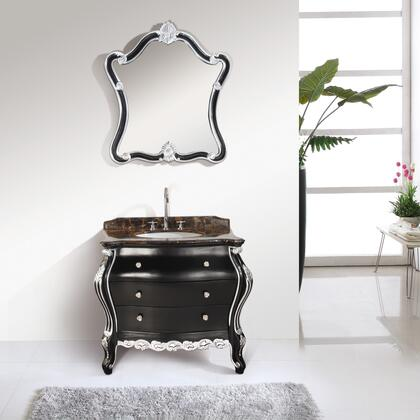 MUAA-026 38 inch  Bathroom Vanity  Brown Marble Countertop  Undercounter White Ceramic Oval Basin  Matching Mirror  2 Drawer Cabinet  Soft Close Sliders  in Oak