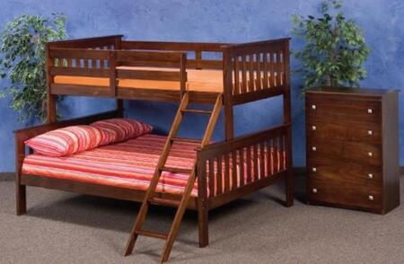 122-2E Twin Over Full Mission Style Bunk Bed with Built in Ladder  Slat Headboard and Footboard in