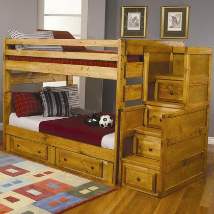4600969798 Set Including Wrangle Hill Full Over Full Bunk Bed + Under Dresser + Stairway Chest in Amber Wash