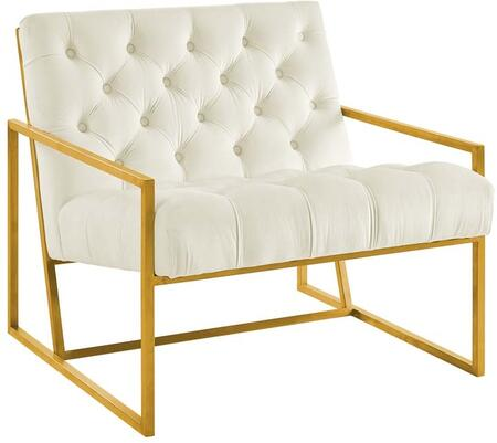 Modway EEI-3073-IVO Bequest Gold Stainless Steel Upholstered Velvet Accent Chair Ivory