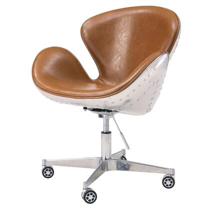 Duval Collection 633035P-D1-AL Office Chair with Aluminum Frame  360 Degree Swivel and PU Upholstery in Distressed