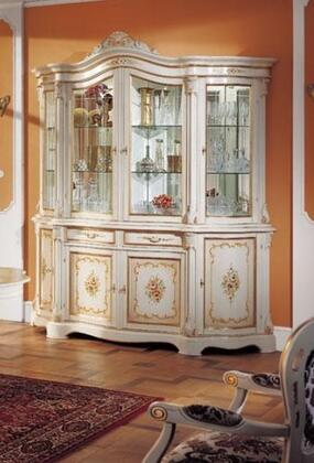 VVGFMREGINA-4DR-CHINA-WHT Regina China Cabinet with 4 Glass Panels  2 Drawers  4 Doors  3 Glass Shelves and Mirrored Back in White