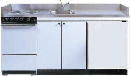 ROE9Y54 54 inch  Compact Kitchen with 4 Electric Coil Burners  Removable Refrigerator  Electric Oven  Backguard  Stainless Steel Countertop  and Sink: