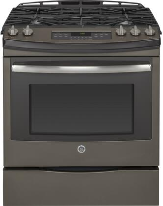 "JGS750EEFES 30"" Slide-In Front Control Gas Range with 5.6 cu. ft. Oven Capacity  5 Sealed Burners  Self-Clean Function  Convection  and Storage Drawer  in"