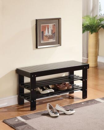 Ramzi Collection 98163 35 inch  Bench with 2 Shelves Shoe Rack  Wooden Seat  Pine and Plywood Construction in Black