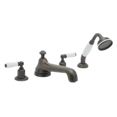 U.3737L-PN Four Hole Deck Mounted Tub Shower Set With Low Level Spout And Lever Handles: Polished