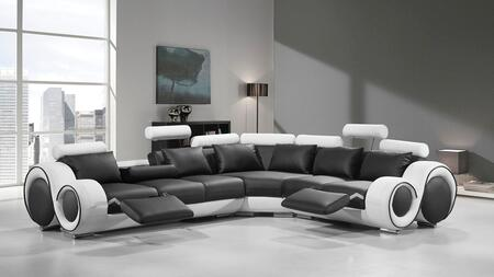 Vgev4087-blk-wht Divani Casa Sectional Sofa With High Density (1.9) Foam Seat  Adjustable Headrest  Chrome Legs  Cup Holder And Ultra Fine Quality Bonded