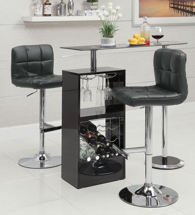 Bar Units and Bar Tables 120451TC 3 PC Bar Table Set with Bar Table + Bar Stools in Black