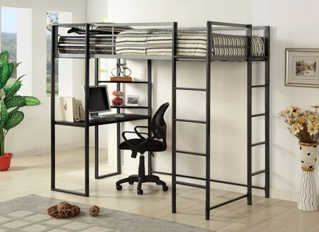 Sherman Collection CM-BK1098T Twin Size Bed with Workstation  Shelves  Metal Upper Safety Rails and Full Metal Construction in Silver and Gun Metal