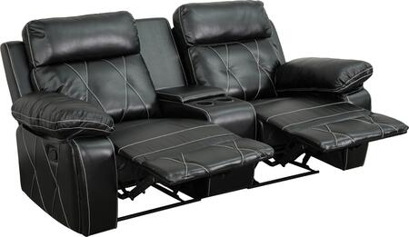 BT-70530-2-BK-GG Real Comfort Series 2-Seat Reclining Black Leather Theater Seating Unit with Straight Cup 548617