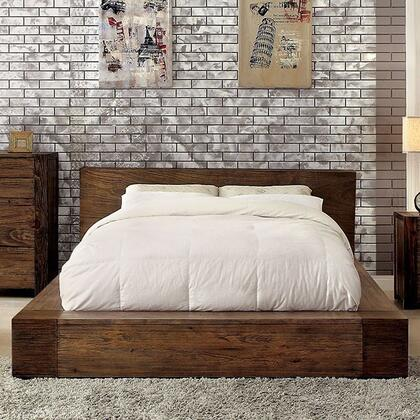 Janeiro Collection CM7628Q-BED Queen Size Bed with Low Profile  Modern Low Headboard Design  Slat Kit Included and Wood Veneers Construction in Rustic Natural