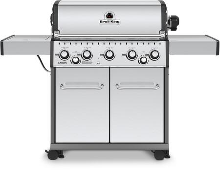 923587 Baron S590 Natural Gas Grill with 5 Burners  50000 BTU Main Burner Output  10000 BTU Side Burner  15000 Rotisserie Burner  555 sq. in. Cooking Area  in