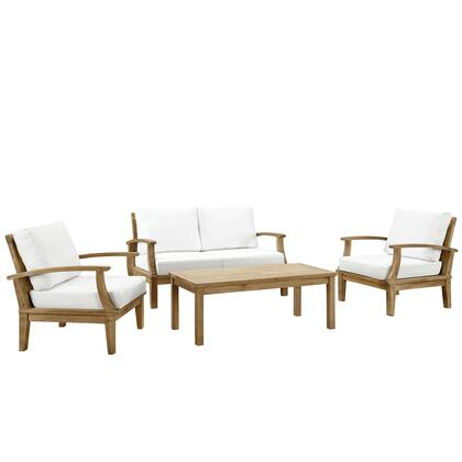 Marina Collection EEI-1469-NAT-WHI-SET 4 Piece Outdoor Patio Teak Sofa Set with Coffee Table  Sofa and Armchair in Natural and