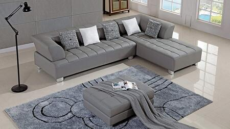 AE-L138 Collection AE-L138L-GR 3-Piece Sectional Sofa with Left Arm Facing Sofa  Right Arm Facing Chaise and Ottoman in