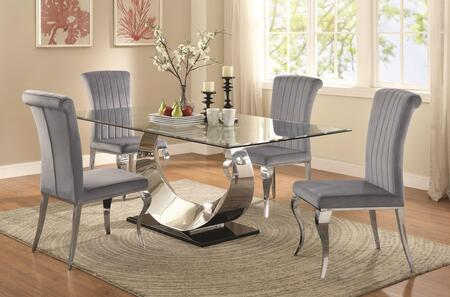 Manessier Collection 107051TC 5 PC Dining Room Set with Dining Table + 4 Side Chairs in Chrome