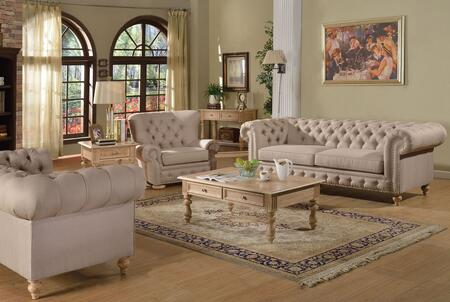 Shantoria 51305SLCT 6 PC Living Room Set with Sofa + Loveseat + Chair + Coffee Table + End Table + Sofa Table in Beige Linen