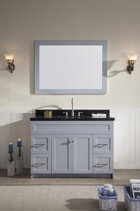 F049SABGRY Ariel Hamlet 49 inch  Single Sink Vanity Set with Absolute Black Granite  Two Doors and Four Drawers in