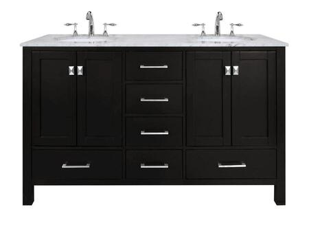 Malibu GM-6412-60ES-CR 60 inch  Double Sink Vanity with 6 Drawers  Italian Carrara White Marble Countertop and Brushed Nickel Hardware in