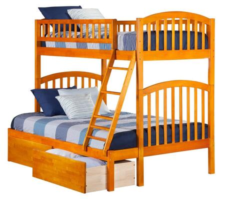 Richland AB64247 Twin Over Full Bunk Bed With Urban Bed Drawers In Caramel