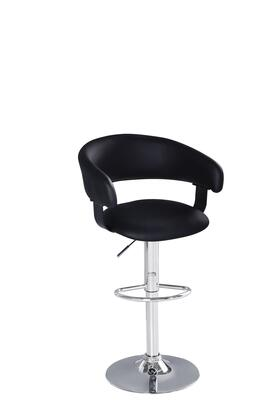 96402 Max 23 inch  - 31 inch  Adjustable Stool with Swivel in Black PU Upholstery and Chrome