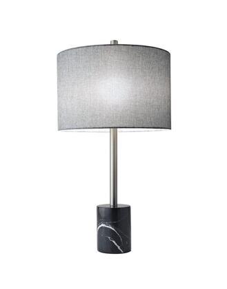 5280-01 Blythe Table Lamp  Brushed Steel Finish  Grey Tweed-Like