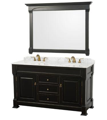 WCVTD60BLCW 60 in. Double Bathroom Vanity in Antique Black White Carrera Marble Top with White Undermount Sinks and 55 in.