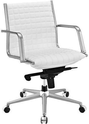 Pattern Collection EEI-2123-WHI Office Chair with 360-Degree Swivel  Adjustable Height  Tilt Control  Five Dual-Wheel Nylon Casters  Polished Steel Armrests