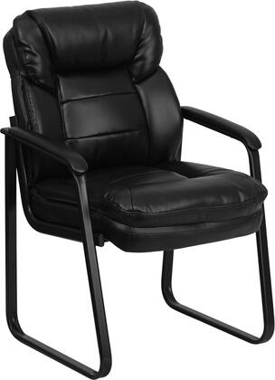 GO-1156-BK-LEA-GG Black Leather Executive Side Chair with Sled