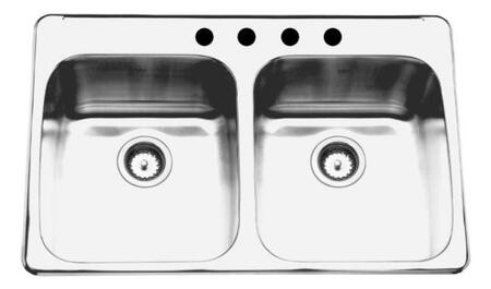 KSDL2233/9/3 33 inch  Double Bowl Drop-In Kitchen Sink  18 Gauge Stainless Steel  3 Faucet