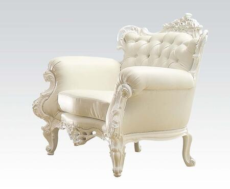 Nels 59137 39 inch  Accent Chair with Rolled Arms  Carved Crown Top  Button Tufted Back and PU Leather Upholstery in White
