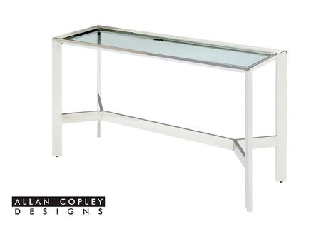 ACD-2101-03-SS Denise Console Table with Clear Tempored Glass Top and Polished Stainless Steel Base by Allan Copley