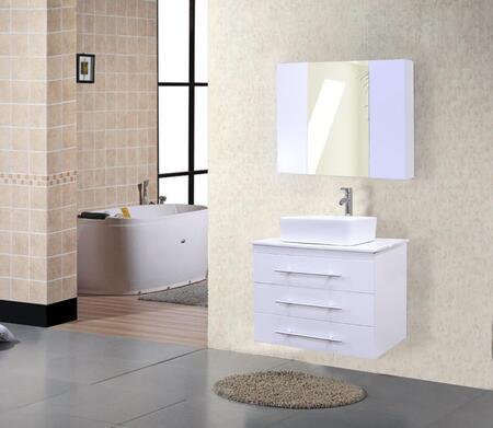 DEC071D-W Portland 30 inch  Single Sink - Wall Mount Vanity Set in