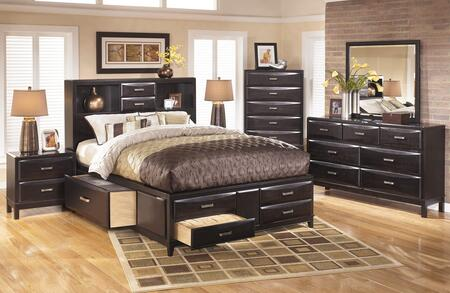 Kira 4-piece Bedroom Set With King Size Storage Bed  Dresser  Mirror And Nightstand In