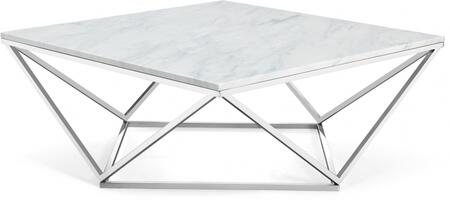 Skyler Collection 244-C 36 inch  Coffee Table with White Marble Top  Architectural Bases  Square Shape and Stainless Steel Legs in Chrome