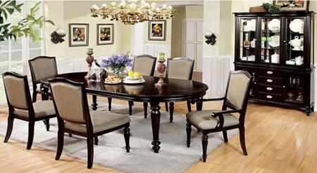 Harrington Collection CM3970T4SC2ACHB 8-Piece Dining Room Set with Rectangular Table  4 Side Chairs  2 Arm Chairs and Hutch + Buffet in Dark Walnut