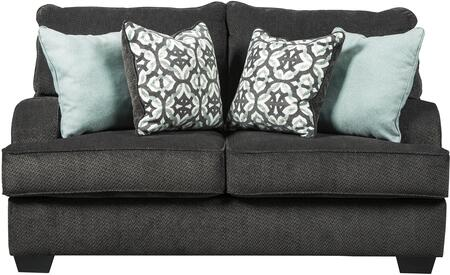 Charenton Collection 1410135 66 inch  Loveseat with Textured Fabric Upholstery  Piped Stitching Detail and Recessed Armrests in