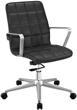 Tile Collection EEI-2127-BLK Office Chair with Adjustable Height  Swivel Function  Dual-Wheel Nylon Casters  Brushed Aluminum Armrests  Powder Coated Steel