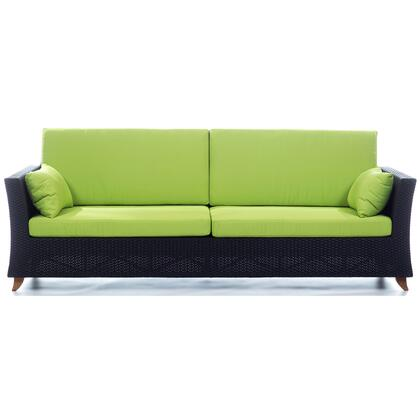 PR90-G 92 inch  Rattan Deep Seating Sofa with Solid Teak Legs  Heavy-Gauge Aluminum Frame and Water Resistant Polyester Fabric Cushion in