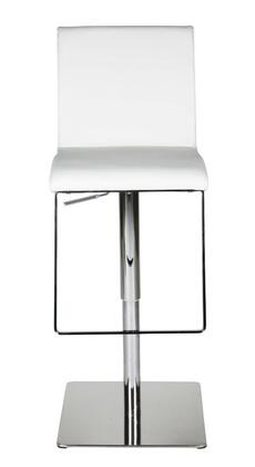 Gia Collection BS1043P-WHT Bar Stool with Adjustable Height  Swivel Seat  Footrest Support  Chrome Pedestal Base and Faux Leather Upholstery in White