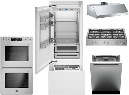 """Bertazzoni 5 Piece Kitchen Appliances Package with REF30PRL 30"""" Bottom Freezer Refrigerator  MASFD30XT 30"""" Electric Double Wall Oven  CB36600X 36"""" Gas Rangetop"""