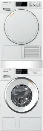 White Stacked Front Load Laundry Pair with WWH860WCS 24 inch  Front Load Washer  TWF160WP 24 inch  Electric Dryer  and WTV512 Stacking Kit