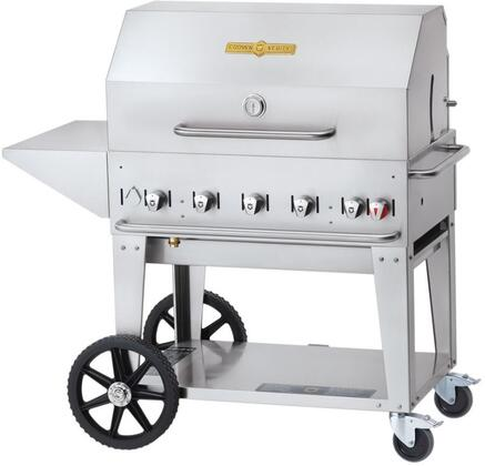 CV-MCB-36PKG-NG 5-PC Grill Package with CV-MCB-36-NG Natural Gas Grill  Removable End Shelf  BBQ Cover  Bun Rack and Roll Dome in Stainless