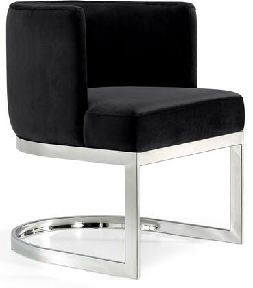 Gianna Collection 734Black-C 19 inch  Dining Chair with Plush Velvet Upholstery  Chrome Stainless Steel Base and Barrel Back Design in